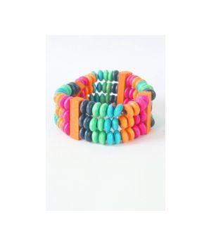 Houtenkralen armband in multicolor