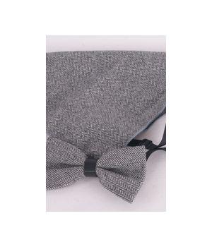 Vlinderstrik met pochet van grijs gemeleerde tweed