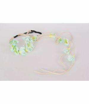 Rekbare haarband met groene bloemen