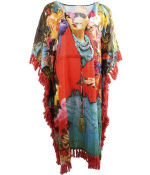 Lange katoenen kaftan/jurk met Frida Kahlo print