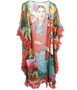 Lange katoenen kimono met Frida Kahlo print