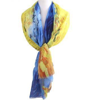 Sjaal met print ''Korenveld met kraaien'' van Gogh