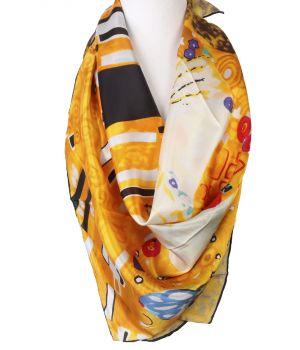 """Vierkante zijden sjaal met print van de """"de Kus"""""""