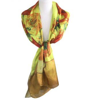 Zijde-blend sjaal met afbeelding van ''Zonnebloemen''