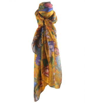 """Zijden sjaal/stola met afbeelding van """"Lady with Fan'' van Gustav Klimt"""