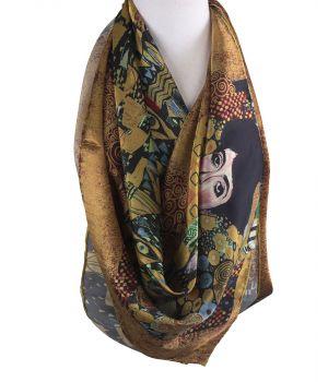 Vierkante zijden sjaal met afbeelding van ''Portret van Adèle Bloch-Bauer I''