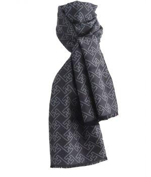 Zachte wol-blend sjaal in donkergrijs met ornament print