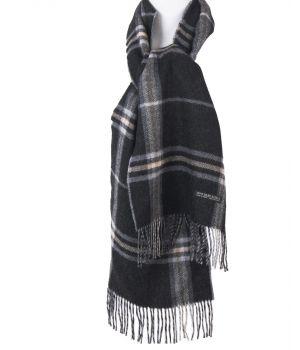 Antraciet kleurige ruit sjaal van Alpaca-wol