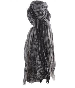 Gecrushte sjaal met strepen in zwart en lichtgrijs