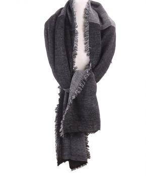 Gemêleerde XL sjaal/ omslagdoek in zwart en grijs