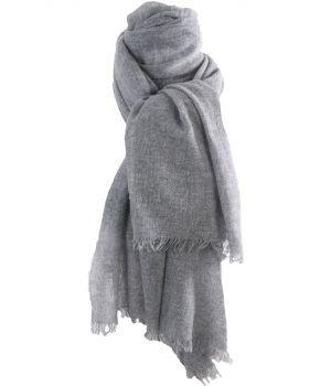 Grijze geweven sjaal van 100% kasjmier