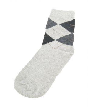 Lichtgrijze sokken met zwart-grijze ruit