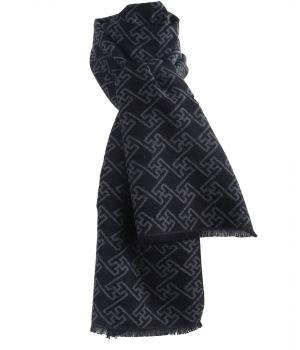 Zachte wol-blend sjaal met ornament print in grijs