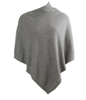 Kasjmier-blend poncho in grijs