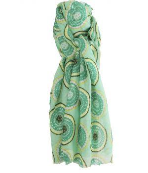 Sjaal met cirkel print in mintgroen