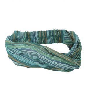 Katoenen haarband met strepen in turquoise