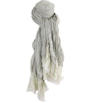 Gecrushte sjaal met strepen in zachtgroen