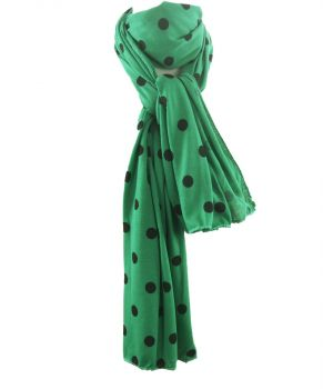 groene tricot sjaal met polka dot print