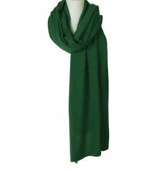 Kasjmier-blend sjaal/omslagdoek in biljartgroen