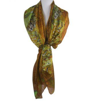 Zijden sjaal/stola met print van''Portret van Adèle Bloch-Bauer I'' van Gustav Klimt