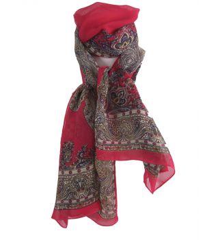 Hardroze crêpe voile sjaal met paisley print