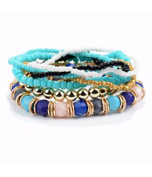 Turquoise gouden 7-strengs stretch kralen armband