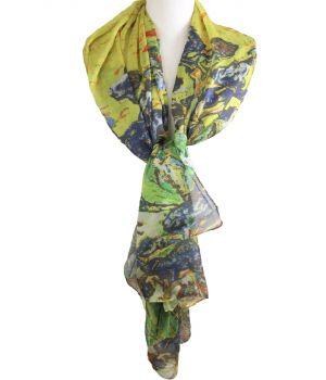 """Zijde-blend schilderij-sjaal met print van """"Irissen"""""""
