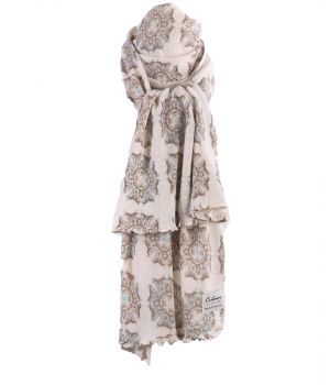Ecru kasjmiermix sjaal met ornament print