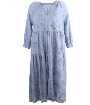 Lange broderie maxi jurk in jeansblauw