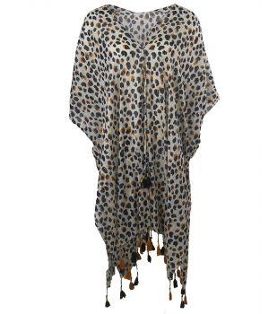 Katoenen kimono met cheetah print