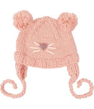 Roze kindermuts met gebreide beer