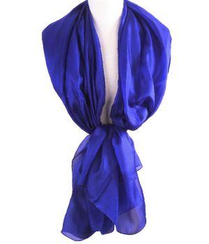 Zijden stola/sjaal in kobaltblauw