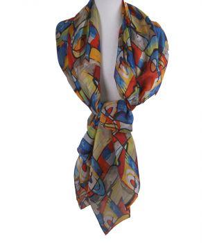 Zijden sjaal/stola met een schildering van ''Wassily Kandinsky''