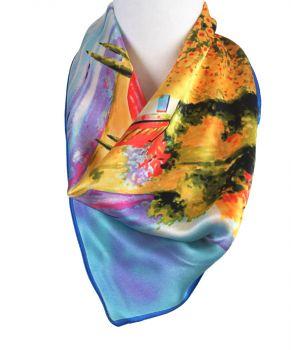 Zijden vierkante sjaal met olie-schildering van bloemenveld