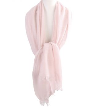 Lichtroze stola/sjaal van 100% kasjmier