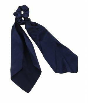 Satijnen scrunchie in donkerblauw met lint