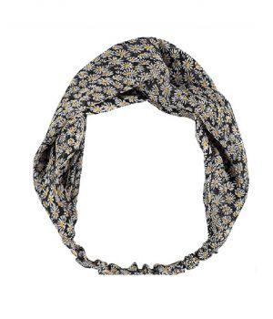 Zwarte haarband met madeliefjes print