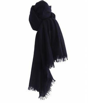 Marineblauwe geweven sjaal van 100% kasjmier
