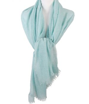Mintgroene stola/sjaal van 100% kasjmier