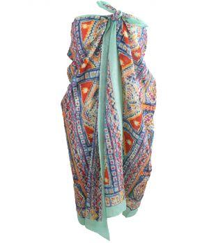 Mintgroene sarong met mozaïek print