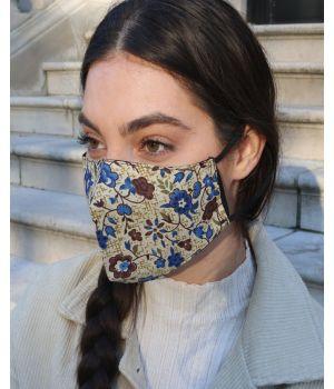 Katoenen mondkapje in khaki-kleur met donkerblauwe bloemenprint