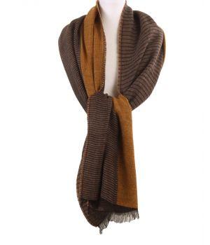 XL sjaal/omslagdoek met strepen in okergeel en bruin