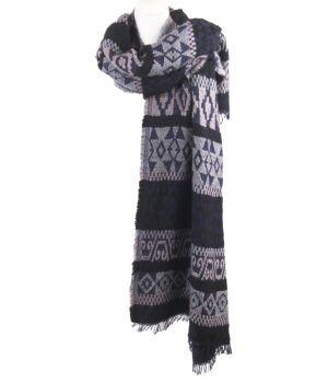 Donkerblauwe omslagdoek/sjaal met geweven azteken patroon