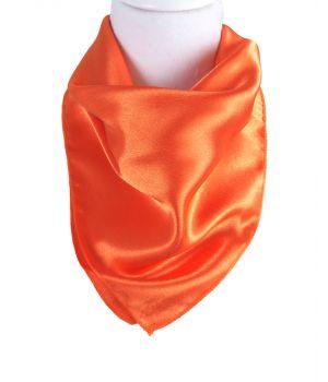 Vierkante satijnen sjaal in de kleur oranje