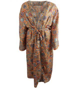Lange oranje zijde-blend kimono met floral print