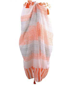 Katoenen sarong met diverse prints in oranje