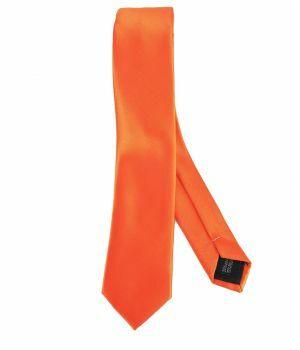 Effen oranje zijde-blend stropdas
