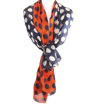 Zijden sjaal/stola met polka dot print in donkerblauw en oranje