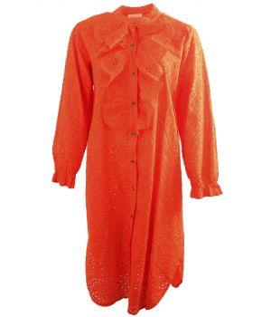Broderie jurk met ruches in oranje