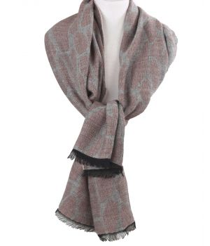 Sjaal met cheetah print in oudroze en lichtgrijs
